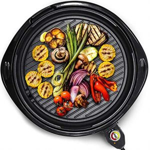 Elite Gourmet EMG-980B Large Indoor Electric Round Nonstick Grill